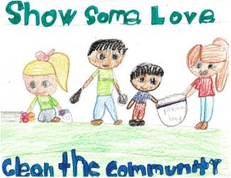 "Drawing of kids picking up trash and text ""Show Some Love Clean the Environment"""