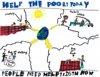 Drawing with various ways to help the poor/people in need