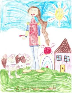 Kindergarten drawing of a woman gardening