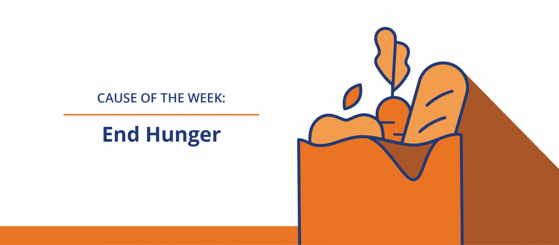 Cause of the Week: End Hunger with an icon of a bag full of groceries