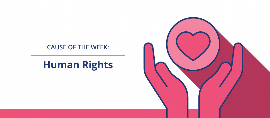 Cause of the Week: Human Rights and graphic of hands holding a heart